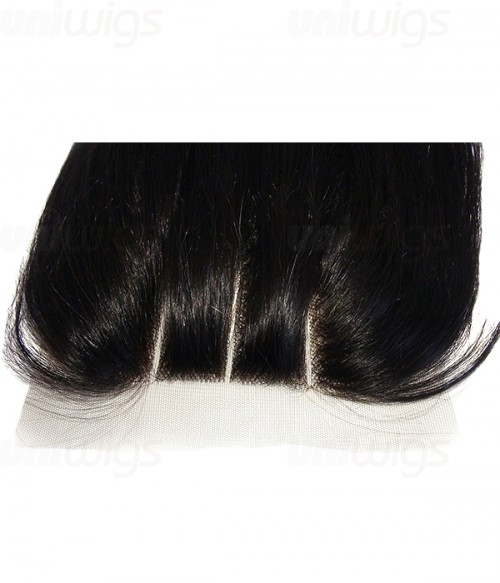 "16"" Natural Straight Brazilian Remy Human Hair Three Part Lace Frontal (5""x5"")"