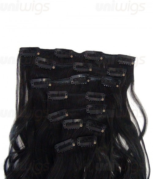 "26"" 7 Pieces Wave Clip In Heat Friendly Synthetic Extension"