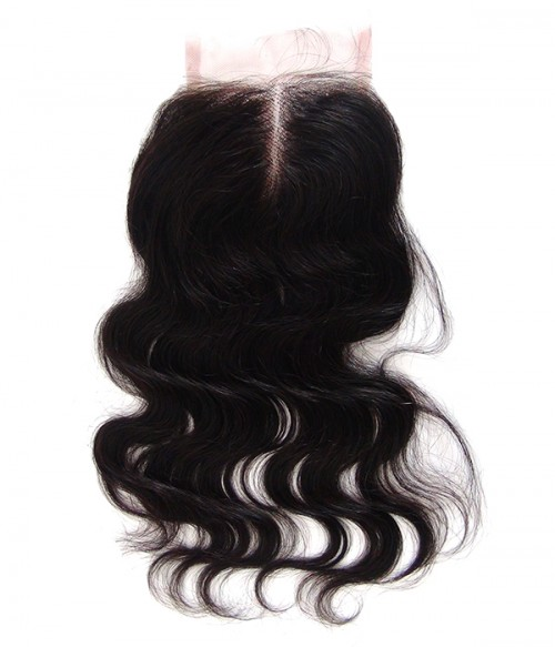 "8""-24"" Body Wave Brazilian Remy Human Hair Middle Part Lace Top Closure Piece  (4""x5"")"