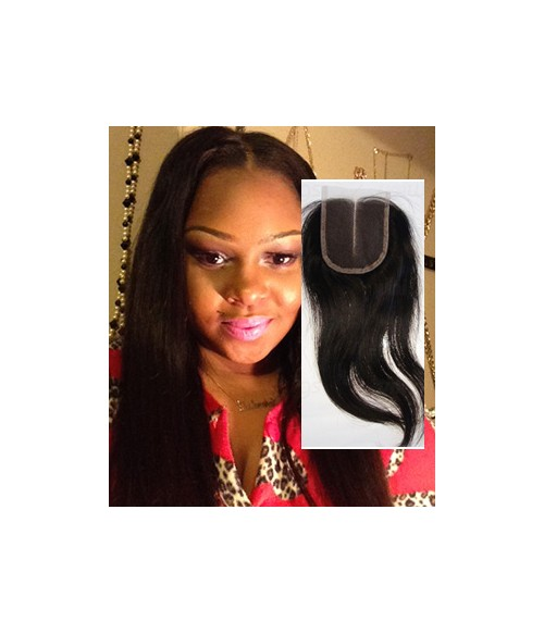 "8""-24"" Natural Straight Brazilian Remy Human Hair Middle Part Lace Top Closure Piece (4""x5"")"