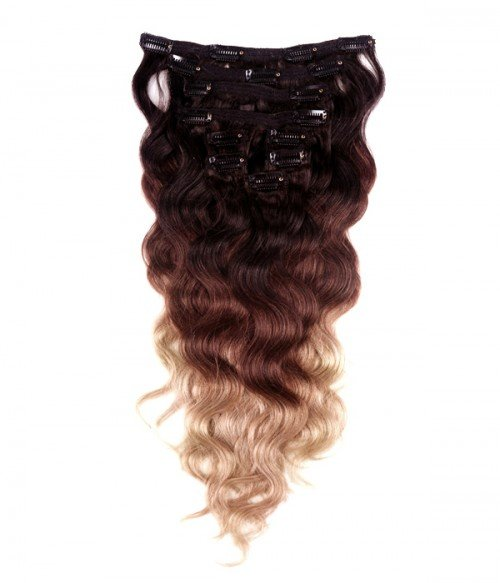 """20"""" Triple Ombre Color 9 Pieces Body Wave Clip In Indian Remy Human Hair Extension E920001BW-G-T1B/4/18"""