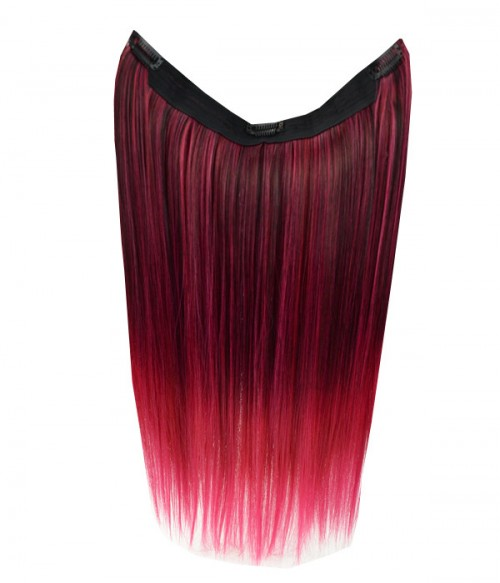 """20"""" Ombre Pink Straight Heat Friendly Synthetic Flip & Clip In Hair Extension"""