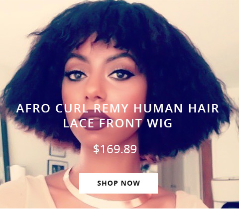 Afro Curl Remy Human Hair Lace Front Wig