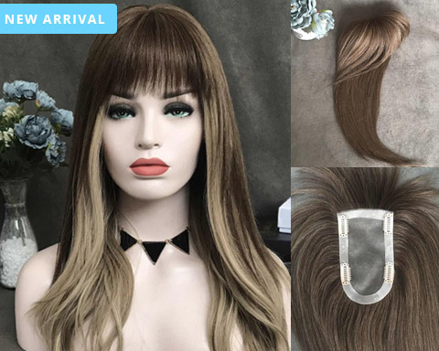 Amelia Remy Human Hair Topper with bangs